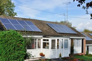 Solar panels provide the home with a green source of energy.